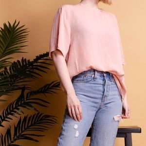 Vintage 90s blush pink silk boxy blouse T-shirt